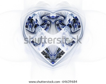 Fractal heart, valentines day motive and winter theme