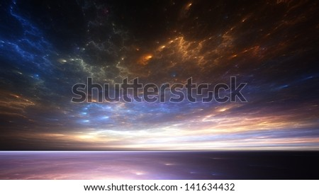 Fractal horizons - Cosmic clouds above a strange sea - stock photo