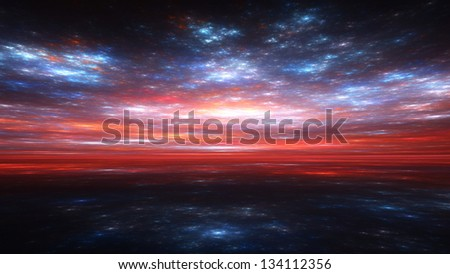 Fractal Horizons - Impressions of a blood-red sunset and starry clouds above a dark sea - stock photo
