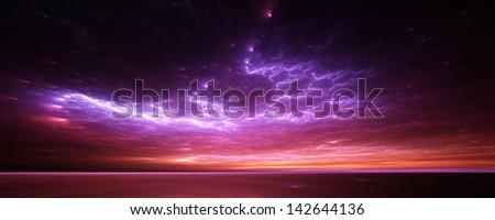 Fractal horizons - Surreal sunset on a strange world - stock photo