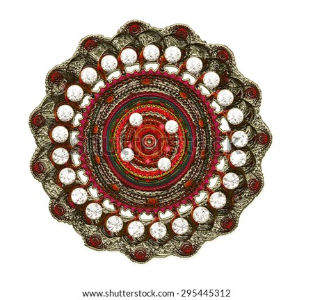 fractal illustration of a brooch of silver with precious stones - stock photo