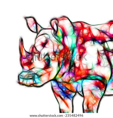 Fractal illustration of a Rhinoceros