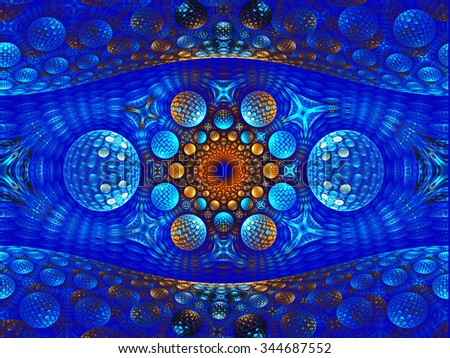 Fractal illustration of abstract background with balls - stock photo