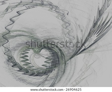 fractal illustration of heart and waves on grey background