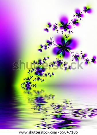 Fractal image depicting the transition of winter to spring reflected in water. - stock photo