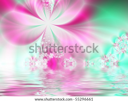 Fractal image of a pastel spring background reflected in water. - stock photo