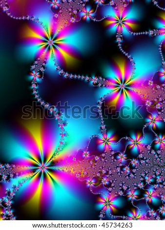 Fractal image of a spring daisy chain. - stock photo