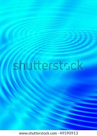 Fractal image of blue concentric water ripples for a background. - stock photo