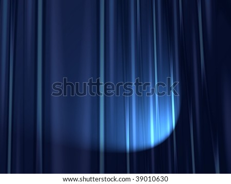 Fractal image of heavy velvet stage curtains with spotlight. - stock photo