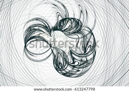 Line Art Flower Design : Fractal line design circle spiral stock illustration
