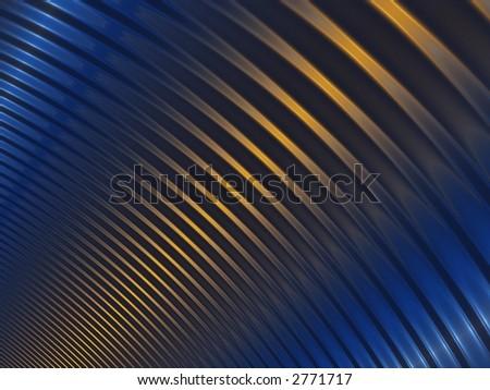 fractal of yellow light shining on blue ripples - stock photo