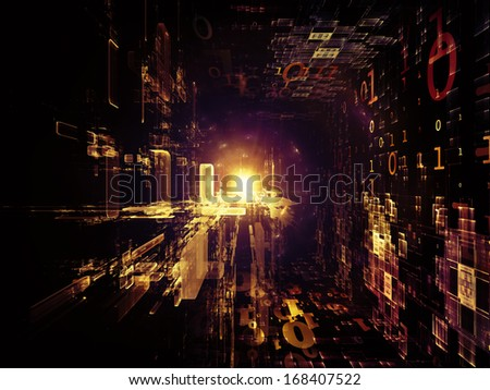 Fractal Realms series. Design composed of fractal elements, grids  and symbols as a metaphor on the subject of education, science and technology - stock photo