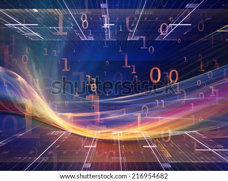 Fractal Realms series. Design made of fractal elements, grids  and symbols to serve as backdrop for projects related to education, science and technology - stock photo
