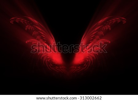 fractal red wings on a black background - stock photo