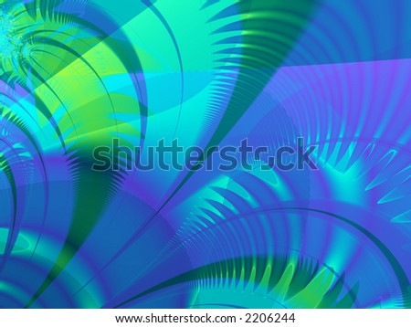 Fractal rendered blue and green palm leaves - stock photo