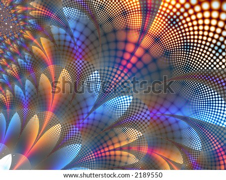 Fractal rendered quilt with multiple colors - stock photo