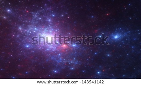 Fractal space background - wide aspect render of a multitude of stars - stock photo
