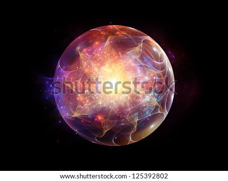 Fractal Sphere Series. Abstract composition of spherical and circular fractal elements suitable as element in projects related to abstraction, graphic design and modern technology - stock photo