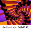 Fractal spiral in orange, black and purple. - stock photo