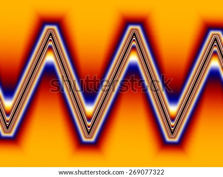 Fractal the image of a blazing pulse sinusoid on the screen an oscillograph - stock photo