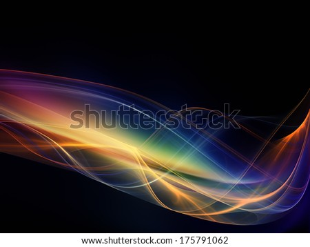 Fractal Wave series. Composition of fractal sine waves and color suitable as a backdrop for the projects on design, mathematics and modern technologies - stock photo