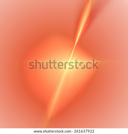 Fractal with vibrant orange color in the shape of a star. - stock photo