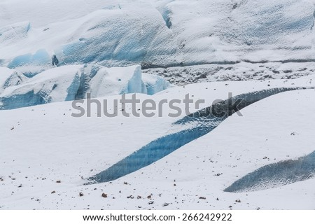 Fractured blue ice of the Svínafellsjökull Glacier, Iceland