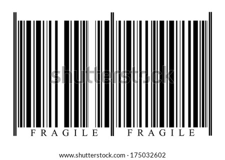 Fragile Barcode on white background