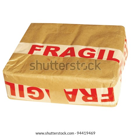 Fragile corrugated cardboard packet isolated on white