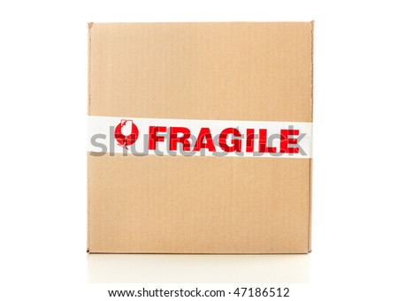 Fragile delivery service. Box, scotch tape, envelops