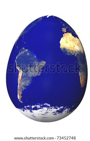 fragile earth egg 3d render concept image - stock photo