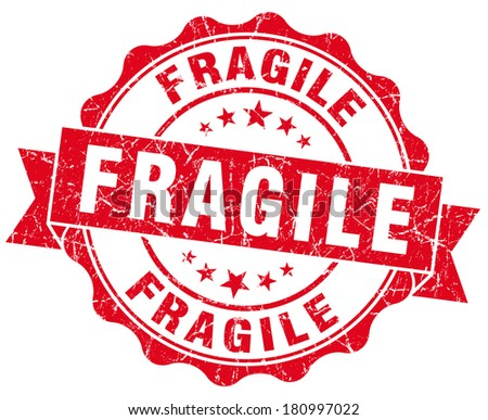 Fragile grunge round red seal - stock photo