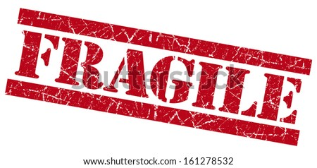 Fragile red grunge stamp - stock photo