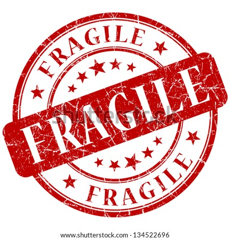 fragile stamp - stock photo