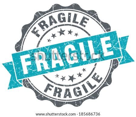 Fragile turquoise grunge retro style isolated seal - stock photo