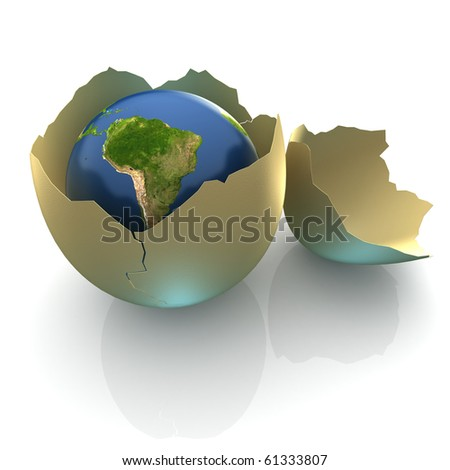 Fragile World - Earth globe facing South America in cracked egg shell - stock photo