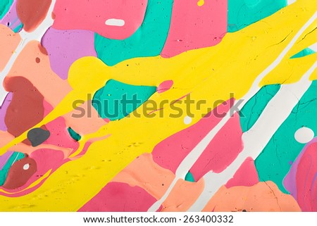 Fragment abstract modern painting background with expressive splashes of paint. Acrylic on cardboard. Old chapped and dusty picture - stock photo