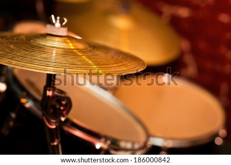 Fragment drumset closeup - stock photo
