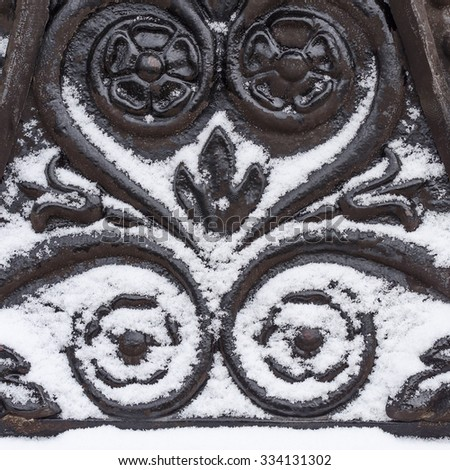 fragment iron decoration in the snow