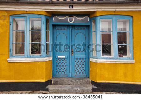 Fragment of a colour facade of the house in Ribe, Denmark - stock photo