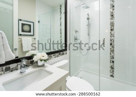 Fragment of a modern bathroom. Interior design. - stock photo