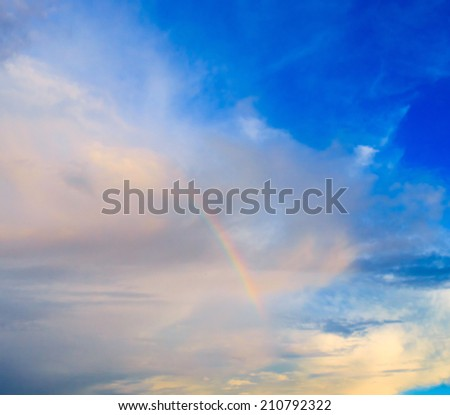 Fragment of a Rainbow Colors in the Sky  - stock photo