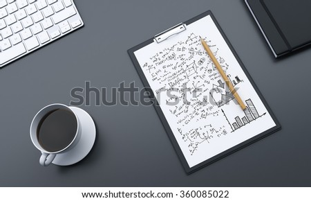 Fragment of a workplace with notepad full of notes, pencil on it and a cup of black coffee to the left, datebook to the right, making notes. Concept of work - stock photo