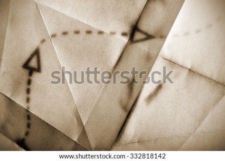 Fragment of an ancient map - stock photo