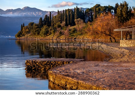 fragment of an old park on a shore of  Tivat bay - stock photo