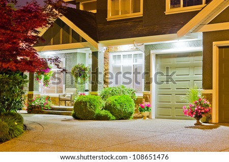 Fragment of an upscale house at night in Vancouver, Canada