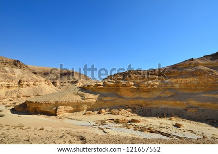 Fragment of ancient desert and mountains. Desert Negev, Israel. - stock photo