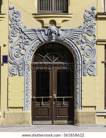 Fragment of Art  architecture style of Riga city - stock photo