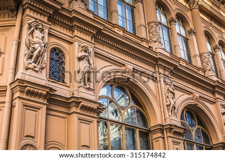 Fragment of Art Nouveau architecture style of Riga city , Latvia - stock photo