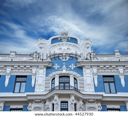 Fragment of Art Nouveau style (Jugenstil). The architect M. Eisenstein, Riga, Latvia. - stock photo